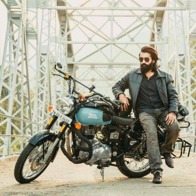 A man with a motorbike